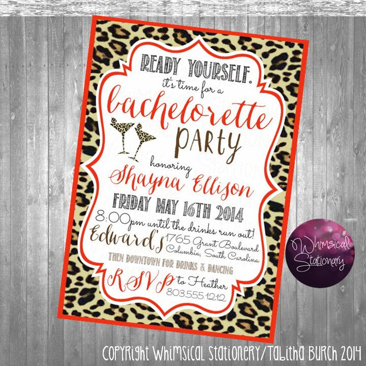 Bachelorette Party Invitations Red Leopard by WhimsicalStationery ...