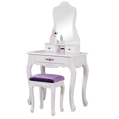 woltu mb6002 mb6014vl coiffeuse table avec miroir et tabouret pour coiffeuse mdf et plastique 3 tiroirs vanite moderne coiffeuse taille 143 x 75 x 40 cm