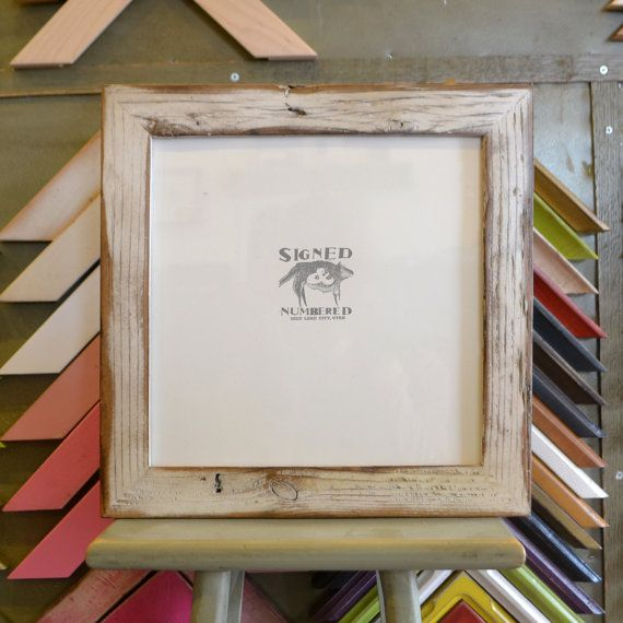 10x10 inch square picture frame in 15inch reclaimed cedar fence wood by signedandnumbered 3465