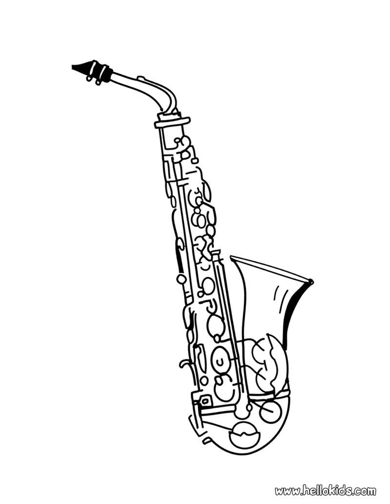 Saxophone Coloring Page Flute Tattoo Saxophone Tattoo