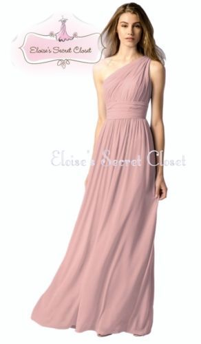 2cae22e82f90 Details about PAIGE Dusky Pink One Shoulder Chiffon Long Maxi ...