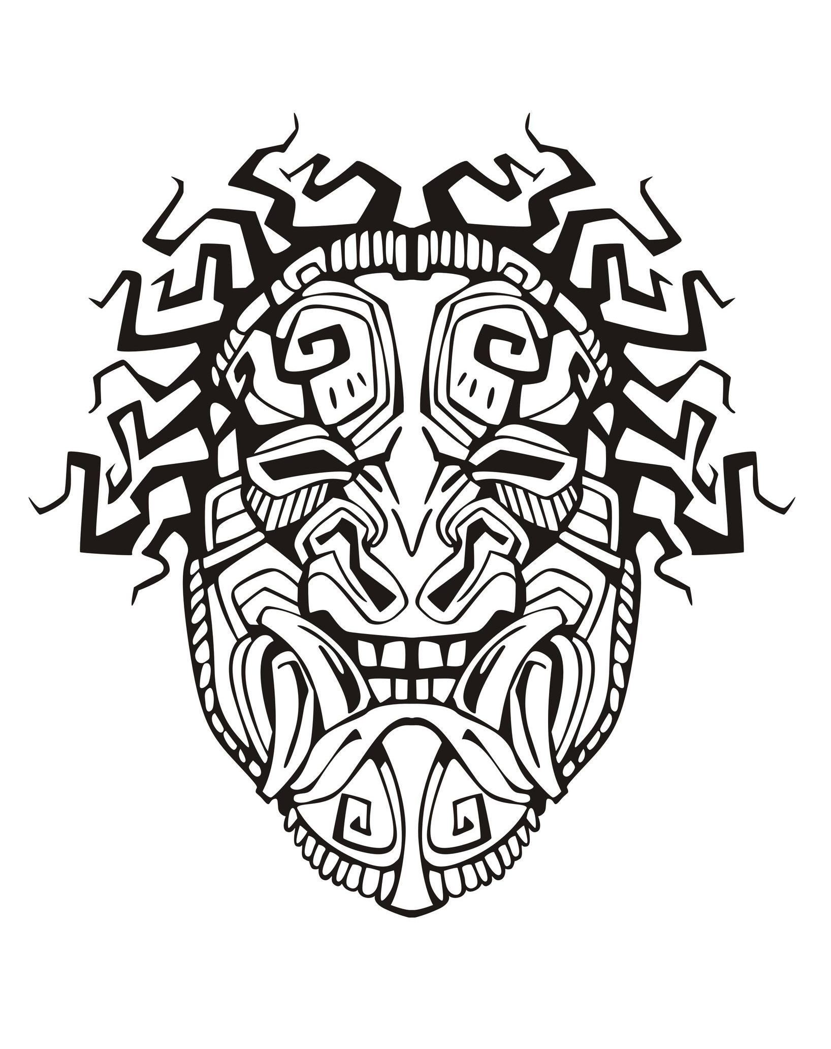 Free coloring page coloring-adult-mask-inspiration-inca-mayan-aztec ...