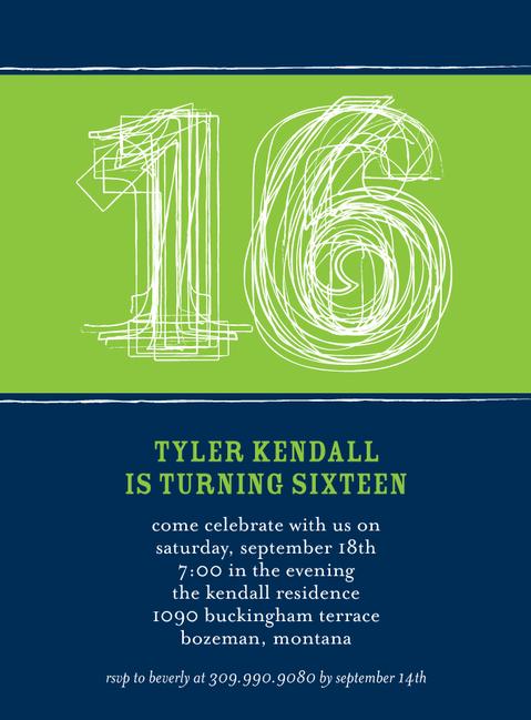 Birthday Invite Boy 16th Sixteenth Sweet 16 Parties
