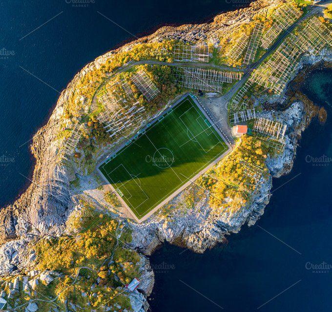 Football Field In Henningsvaer From Above Lofoten Football Field Visit Norway