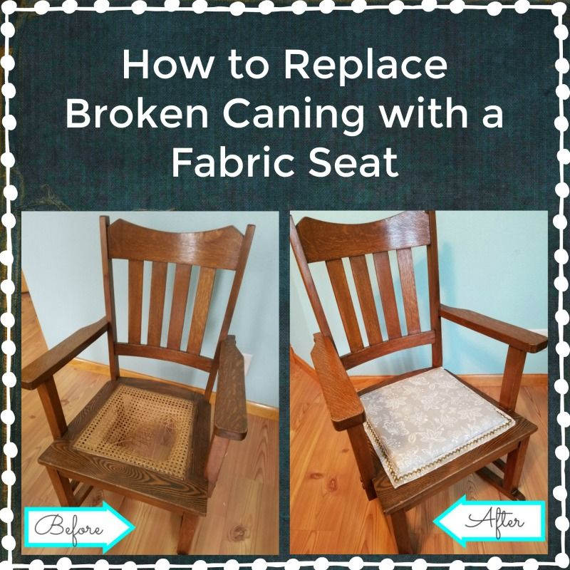 How To Replace Broken Caning With A Fabric Seat Rocking Chair Makeover Chair Makeover Antique Rocking Chairs #replacement #living #room #chair #cushions