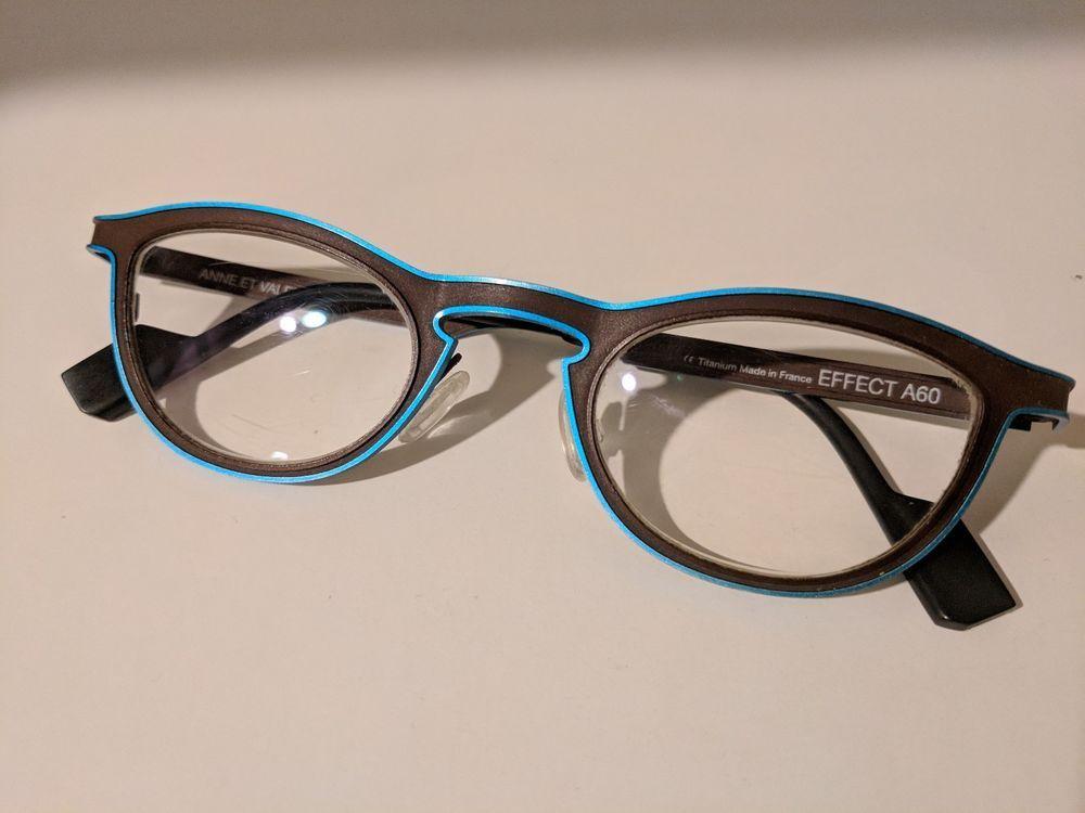 Anne et Valentin Effect A60 titanium eyeglass frames Brown and Blue ...