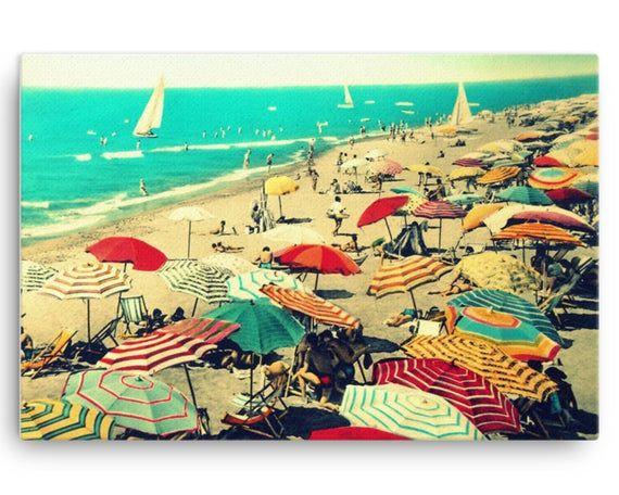 Vintage Beach Umbrellas Print On Canvas Crowded Beach In Etsy Beach Umbrella Art Beach Canvas Art Beach Canvas Wall Art