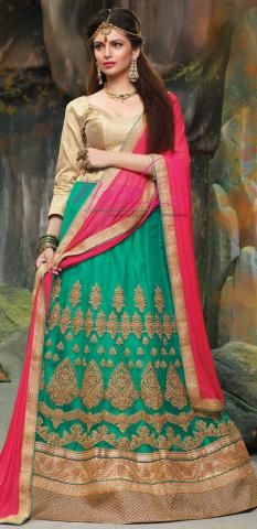 702d464df9 Lacha Lehenga Photos Online Green Net Silk Semi Stitched ND1103D10161