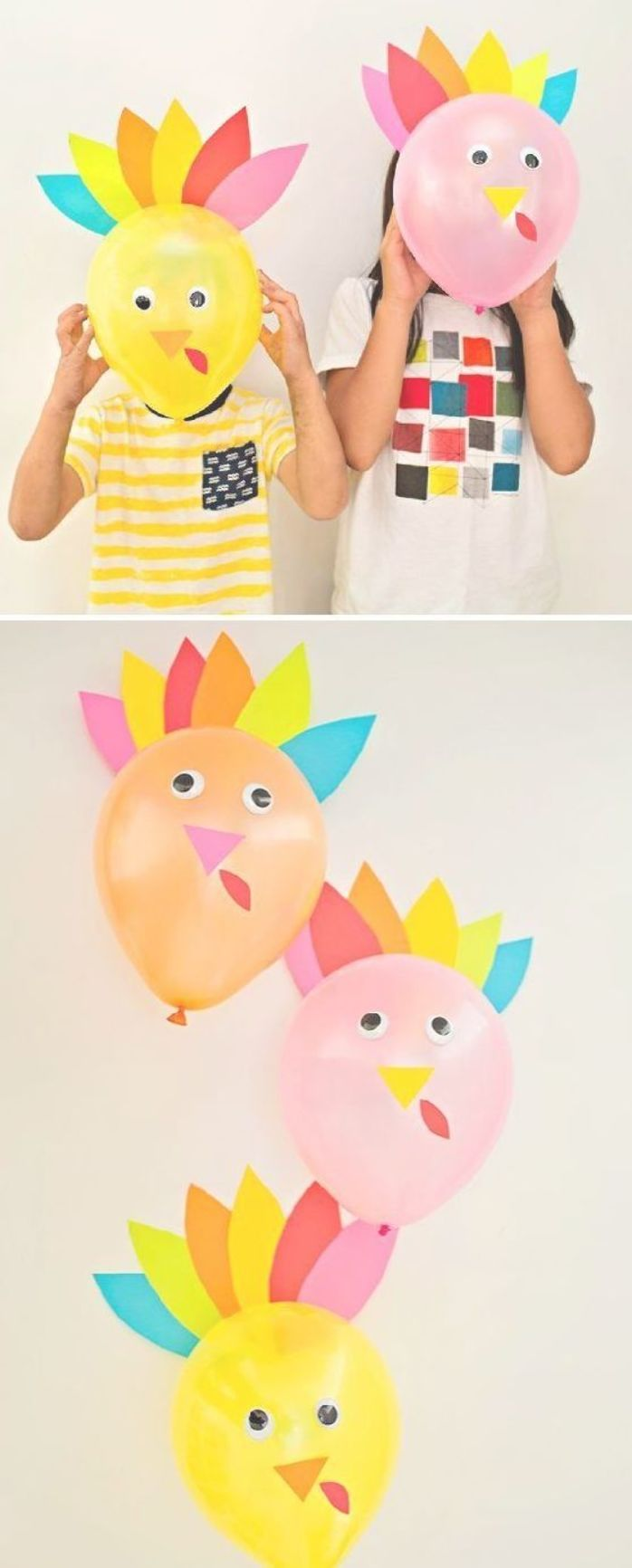 DIY Thanksgiving Turkey Balloons. Cute and easy turkey craft for kids or decor f…