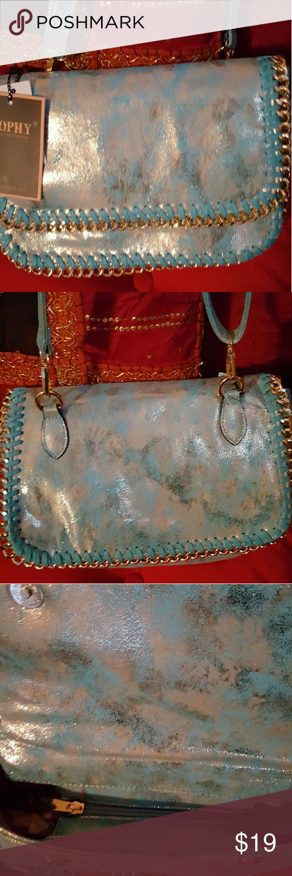 Turquoise/Silverish Crossbody W/ Gold Chain Trim! Brand new, very cute bag, the color is Gorg😗 The inside of this bag is red. Bags Crossbody Bags