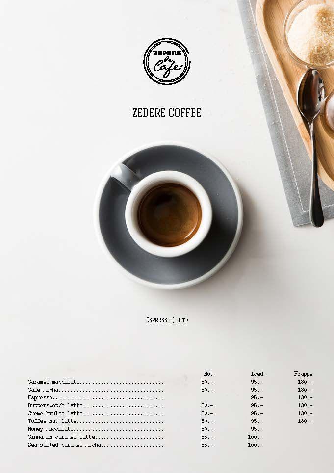 zedere cafe menu design by wajana marketing pinte