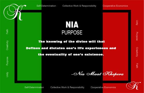 Nia Kwanzaa Sign. Printable Red, Black & Green Purpose Sign ...
