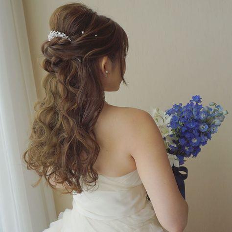 上品で可愛いハーフアップのブライダルヘアカタログ Marry マリー ウエディング ヘア ハーフアップ 結婚式 髪型 ハーフアップ 髪型 ハーフアップ