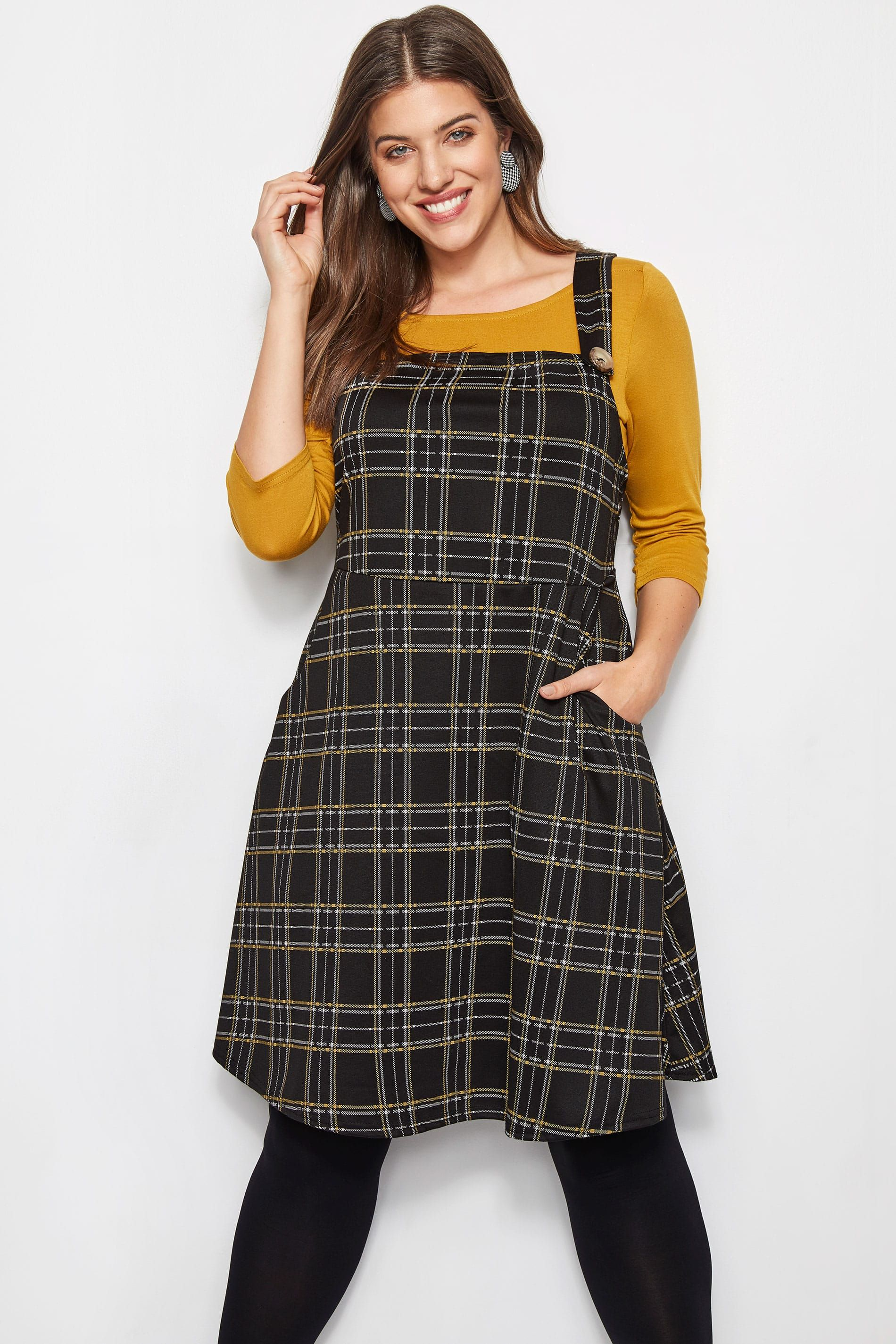 f7a13a47 LIMITED COLLECTION Black & Yellow Check Pinafore Dress | Yours ...