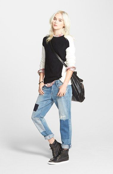 NAS: Hinge Colorblock Sweater, Treasure&Bond Popover Top & Boyfriend Jeans  available at #Nordstrom