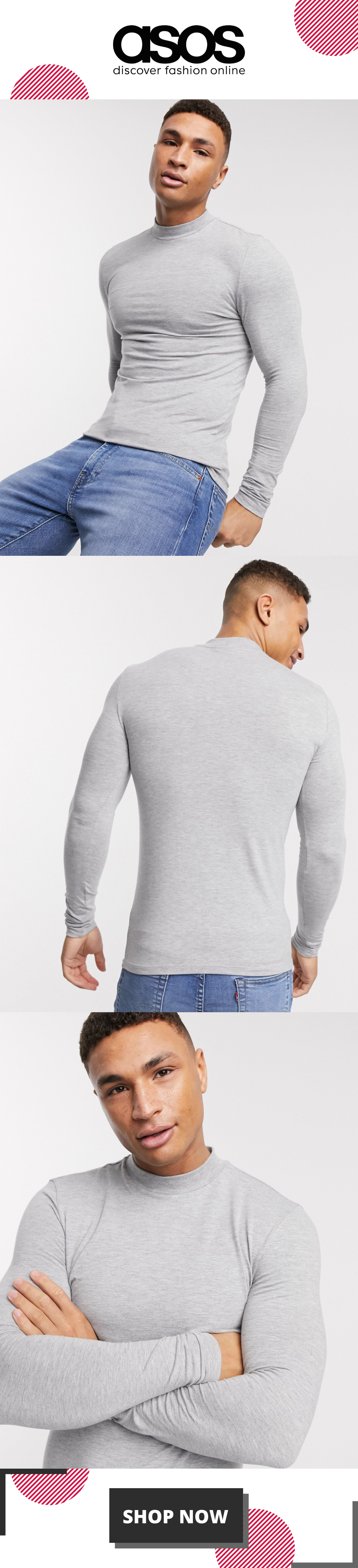 ASOS DESIGN muscle fit long sleeve jersey turtle neck in grey marl