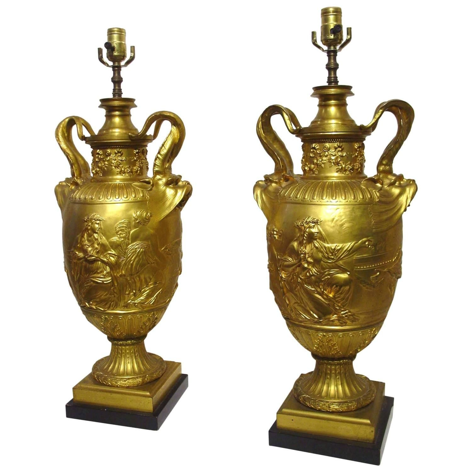 Pair Of Large 19 Century Gilt Bronze Urn Lamps, Signed F
