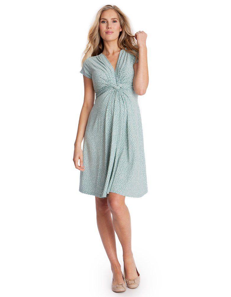 Sage Polka Dot Knot Front Maternity Dress