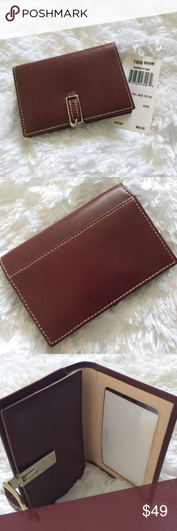 Authentic coach business card case nwt leather card case business authentic coach business card case authentic coach leather card case measures about 4 x 3 it has a push lock closure slip pocket on the back colourmoves