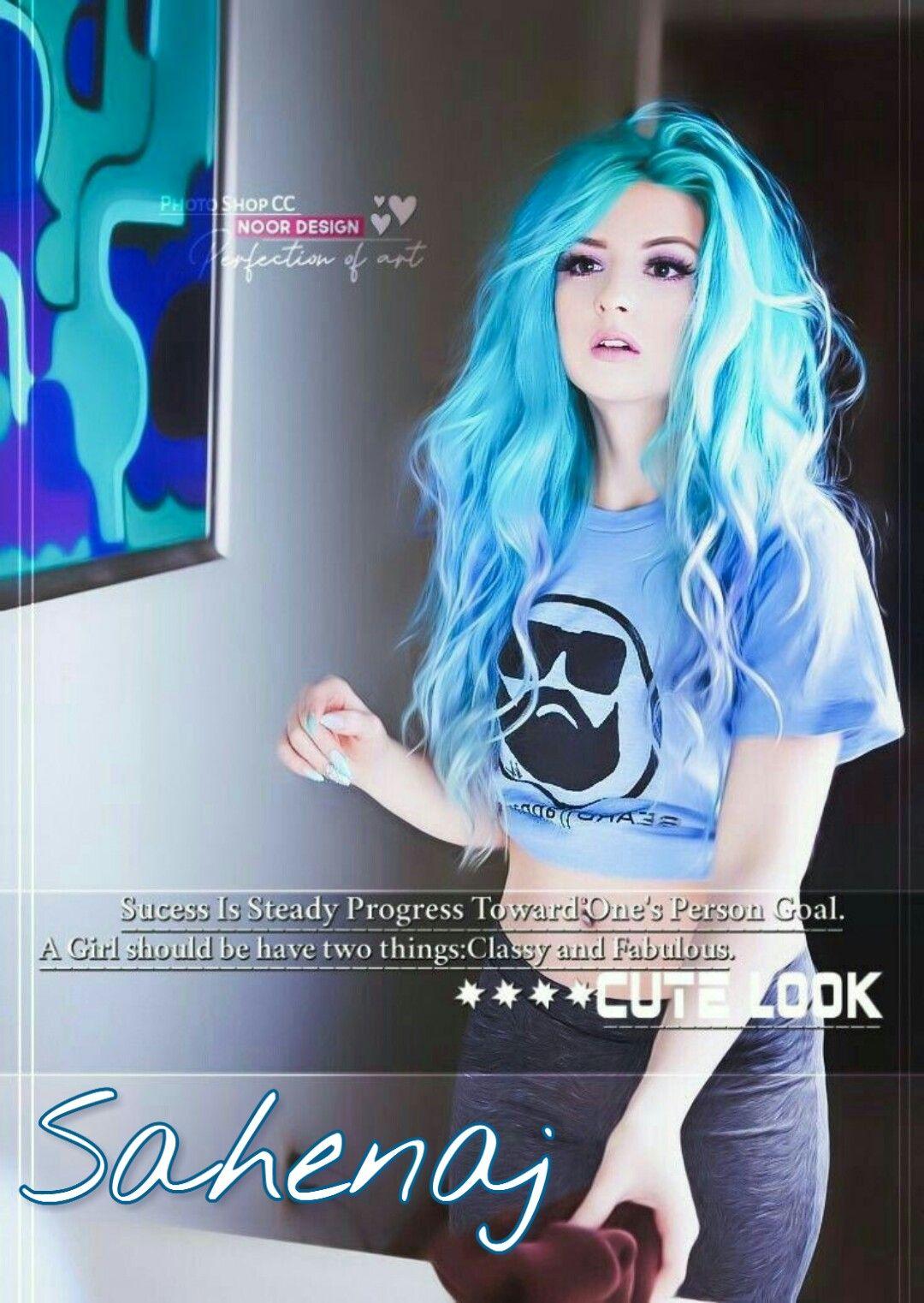 Blue Hair Girl Sahenaj Name Dp  Girl photo poses, Beautiful girl