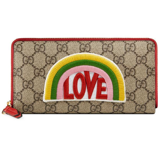 e9ed8aed69ac9 Gucci Rainbow Soft Gg Supreme Zip Around Wallet ($630) ❤ liked on Polyvore  featuring bags, wallets, gucci, beige, gucci wallet, 12 card wallet,  embroidered ...
