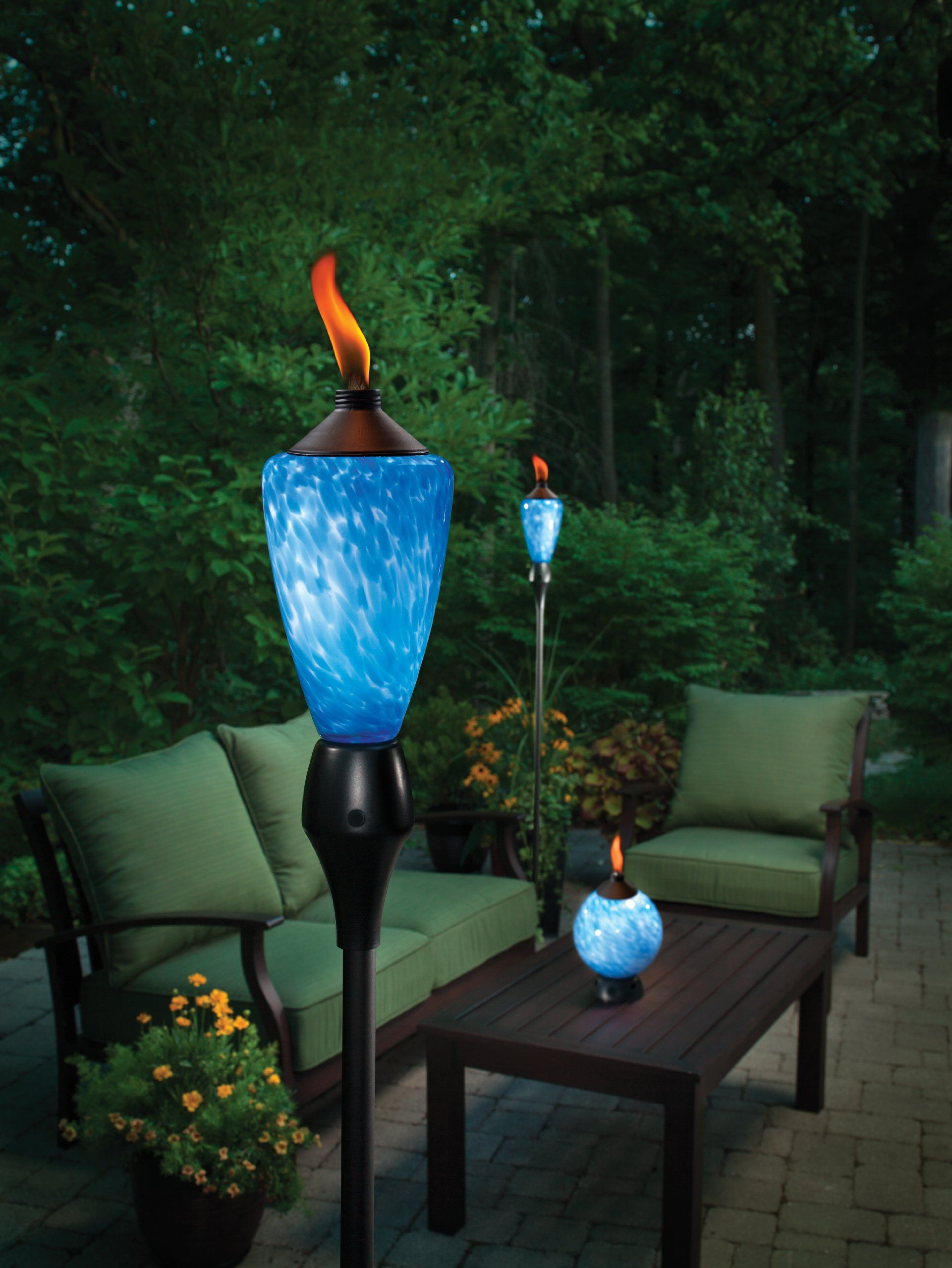This TIKI Glow Torch adds atmosphere and light effects. Not a fire pit but  I really like it