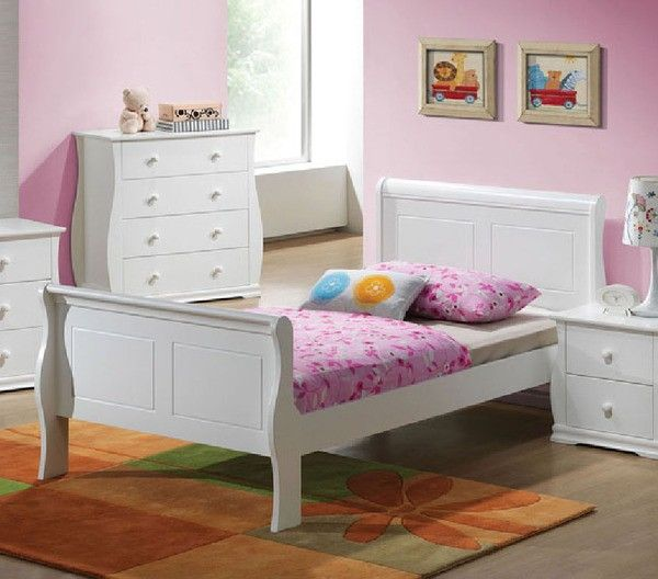 Acme Furniture Nebo White Wave Shaped Youth Full Bed 30090f