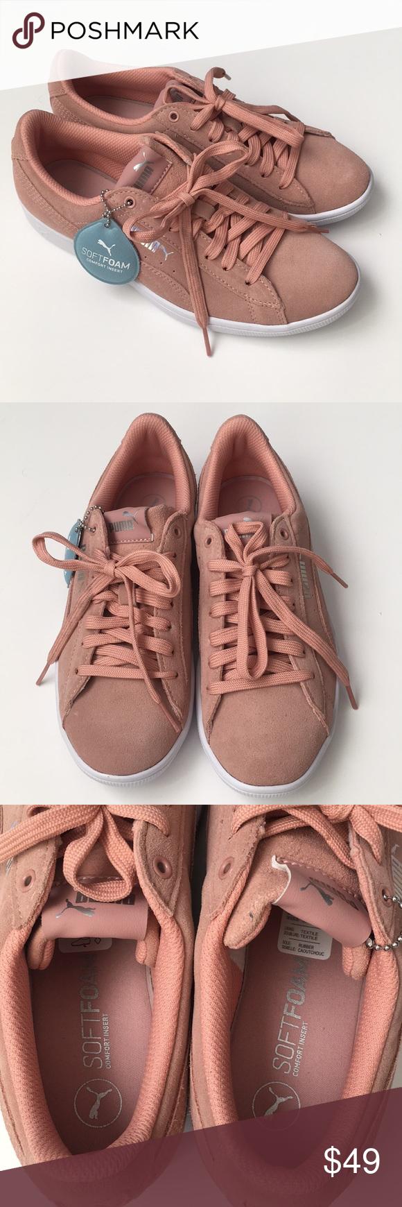 puma soft foam pink suede sneakers
