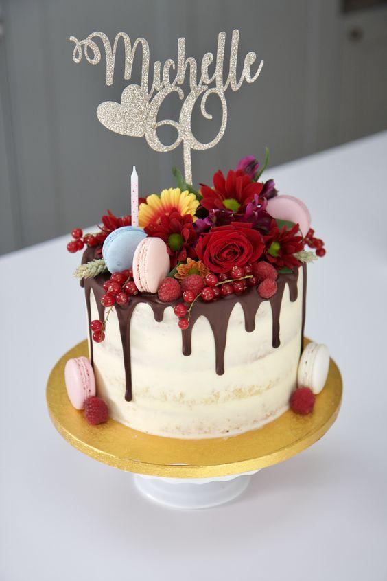 Pretty 60th birthday cake   60th birthday cakes, Cake