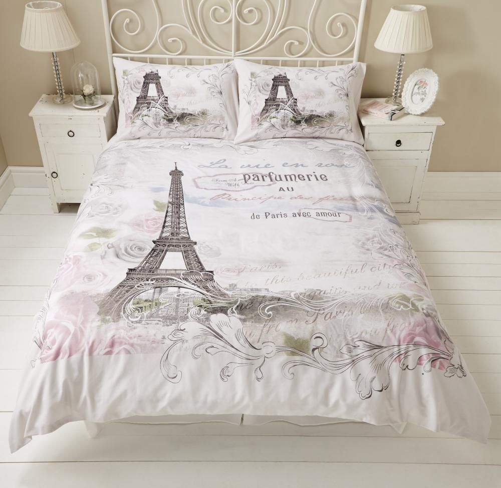 Paris eiffel tower floral roses calligraphy script duvet set quilt ... : eiffel tower quilt cover single - Adamdwight.com