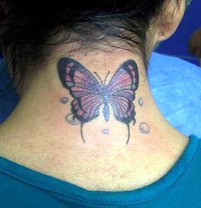 Butterfly Back Tattoos Butterfly Tattoos Back Of Neck Butterfly