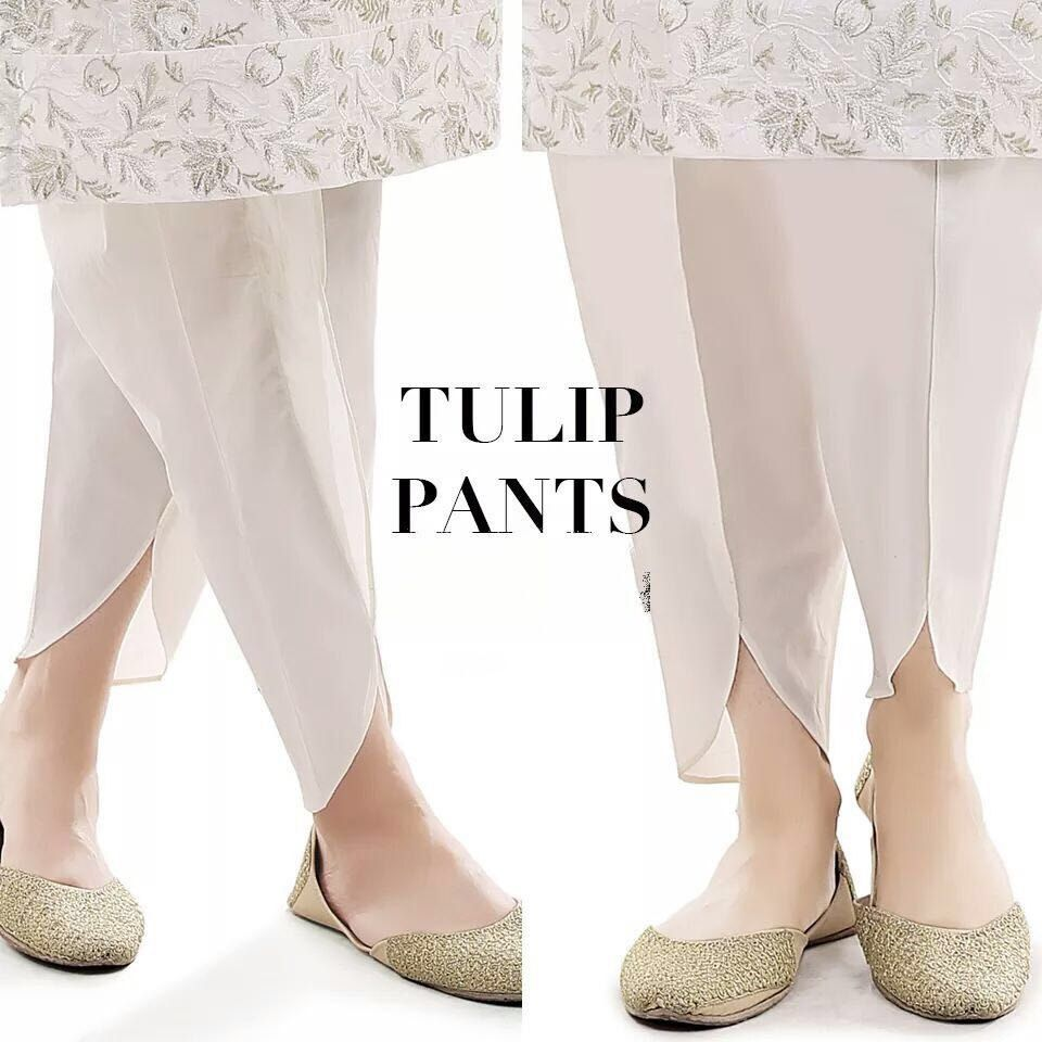 c6d3505028 White Silk Tulip Shalwar with Pearl Embriodery, Tulip Pant, Dhoti Shalwar  by KaamdaniCouture on Etsy