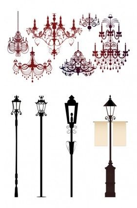 Gorgeous chandelier lights silhouette vector Vector Silhouettes ...
