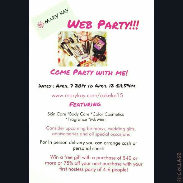 Web Party!!! www.marykay.com/cokeke15
