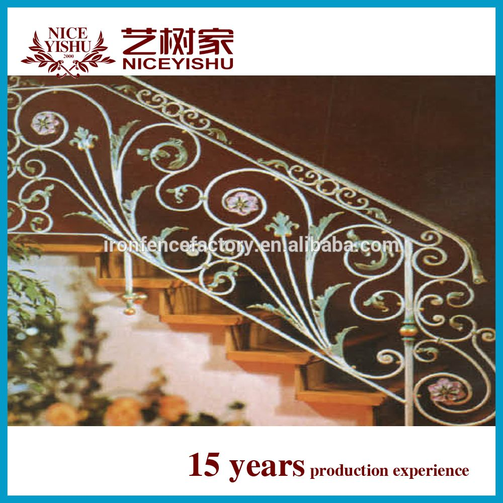 Decorative Interior Wrought Iron Handrail / Outdoor Wrought Iron Stair  Railings/lowes Wrought Iron Stair