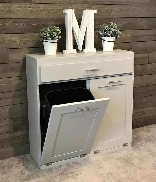 Beautiful Handcrafted, Tilt Out Trash Bins And Tilt Out