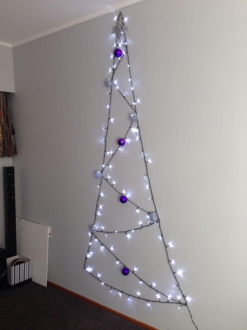 Apartment style Christmas Tree, using lights, decorations & 3M mini wall hooks