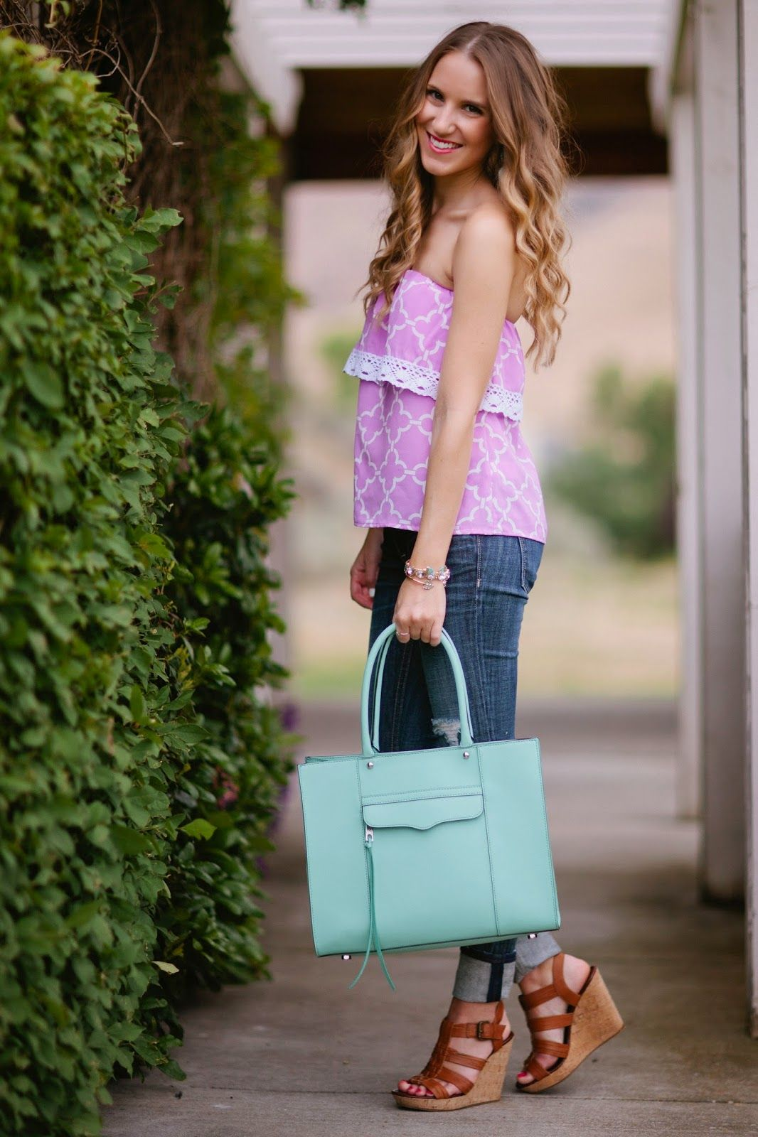 Lavender Strapless Top and Jeans - Twenties Girl Style