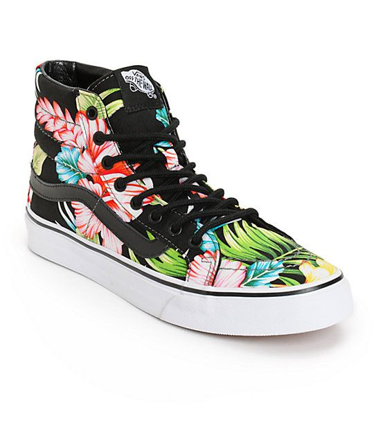 a0c12eb93a3 These classic high top shoes are made with a vulcanized gum rubber sole and  a durable textile upper covered in a tropical floral print that will take  your ...