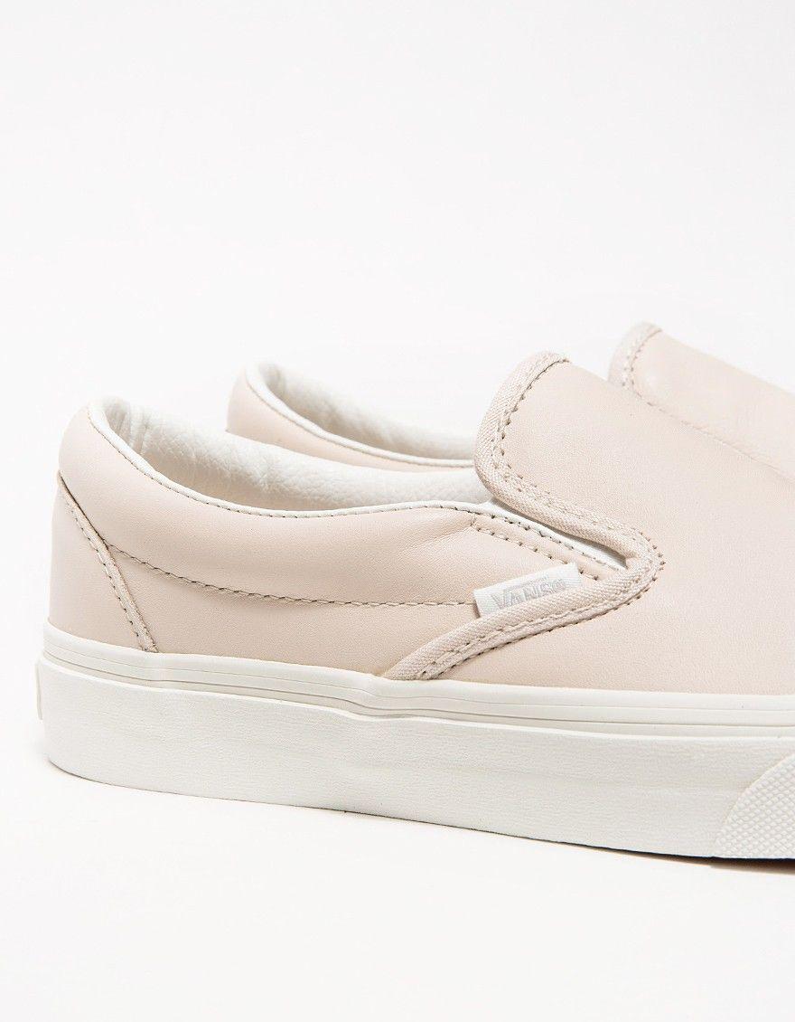 Whispering Pink Vans Leather Slip-Ons