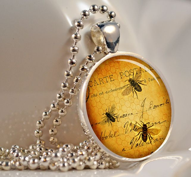 Vintage Bees Necklace, Glass Pendant, Glass Jewellery, Bee