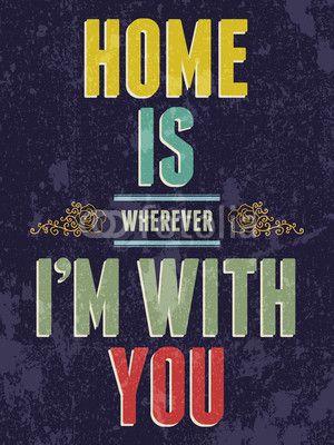 Vintage hogar es donde yo estoy contigo, amor impresiones o postal.