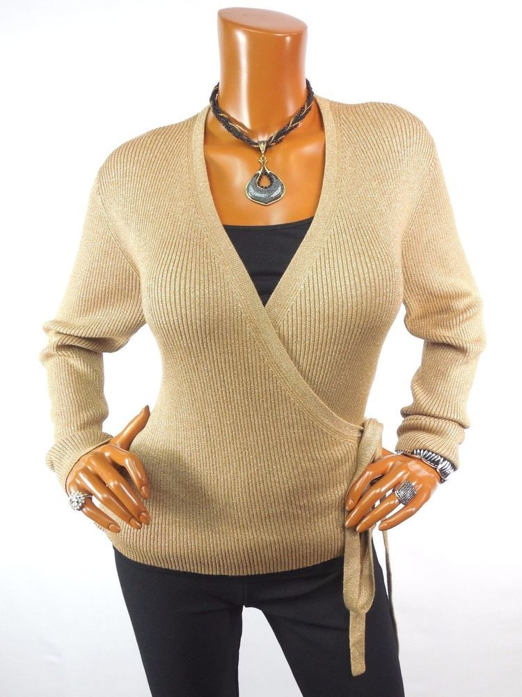 Real Clothes Womens Top L Sexy Gold Wrap Knit Holiday Blouse Casual