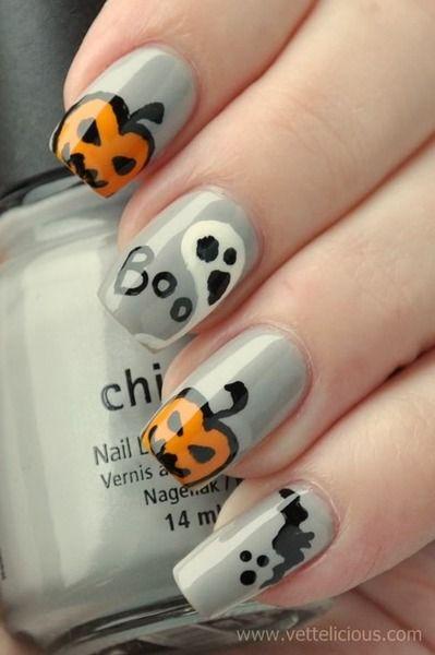 Halloween Nails Boo Ghosts And Pumpkins And A Pooping Bat Lol Halloween Nail Designs Pumpkin Nail Art Halloween Nails Diy