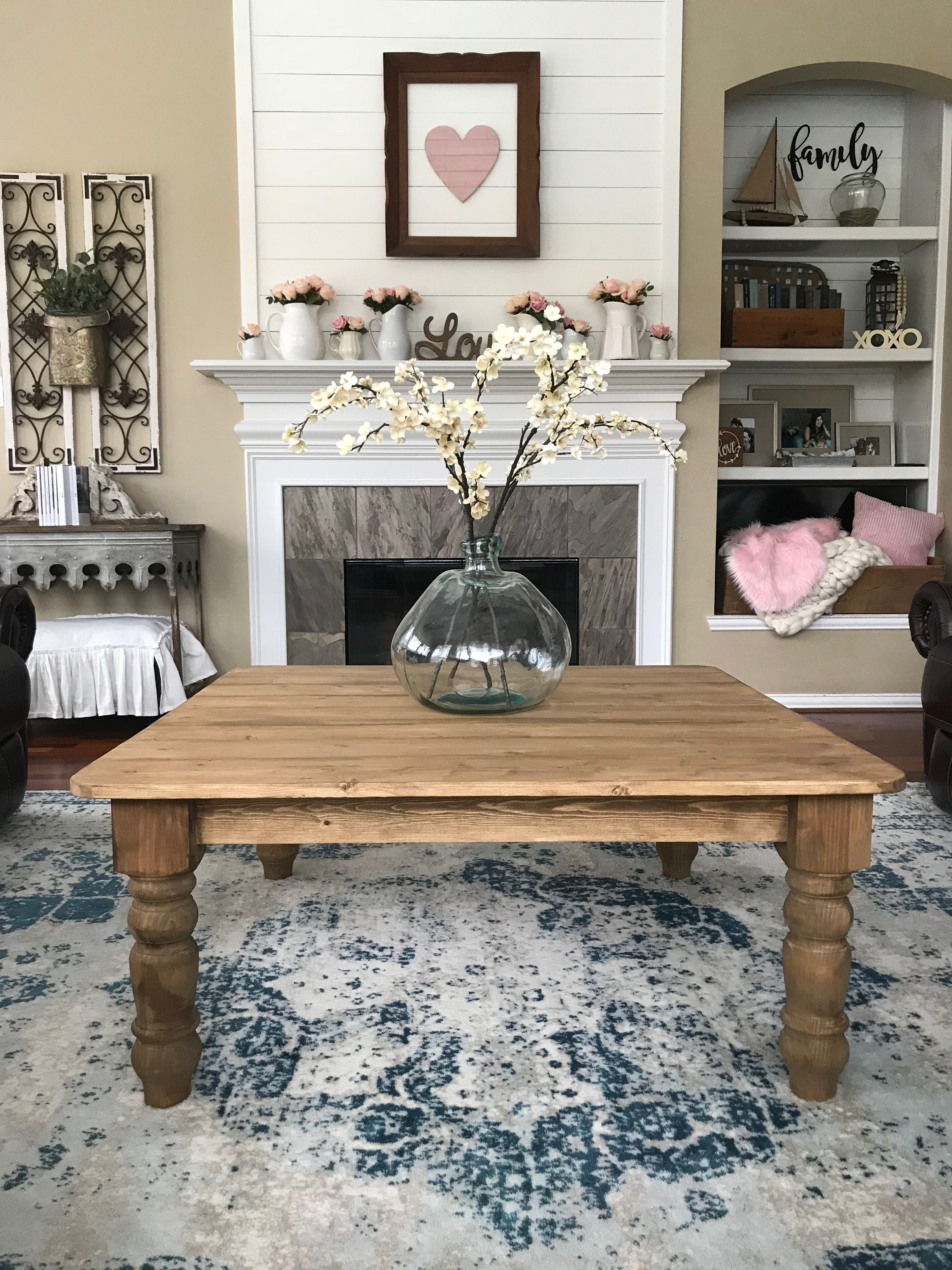 Coffee Table Farmhouse Coffee Table Cottage Coffee Table Farmhouse Table Chunky Legs Diy Tabl Coffee Table Coffee Table Farmhouse Decorating Coffee Tables
