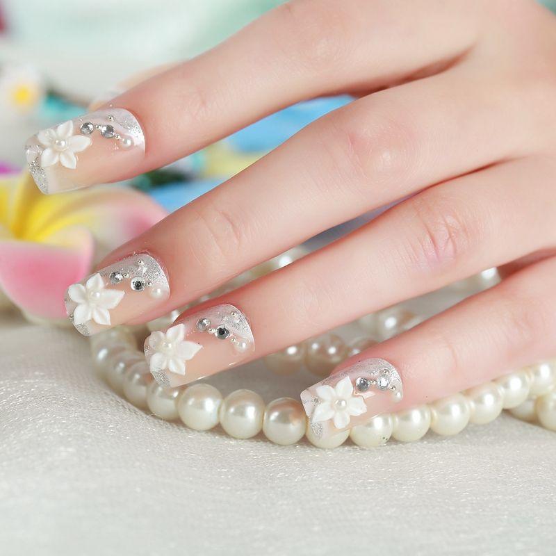 New Decorated False Nail Cute Fashion 3D Acrylic Fake Nails Art Tip ...