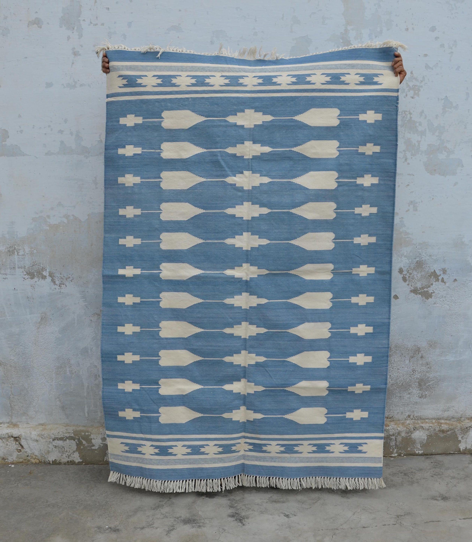 Jaipur Cotton Dhurrie Rug 4x6 Navajo Bohemian Tribal Moroccan Southwestern Persian Kilim Cd 135