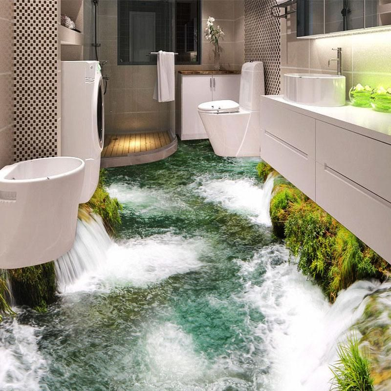 Custom Flooring Mural Wallpaper River Waterfall Toilet Bathroom Bedroom 3d Floor Painting Pvc Waterproof Sticker Floor Murals 3d Floor Painting Wall Wallpaper