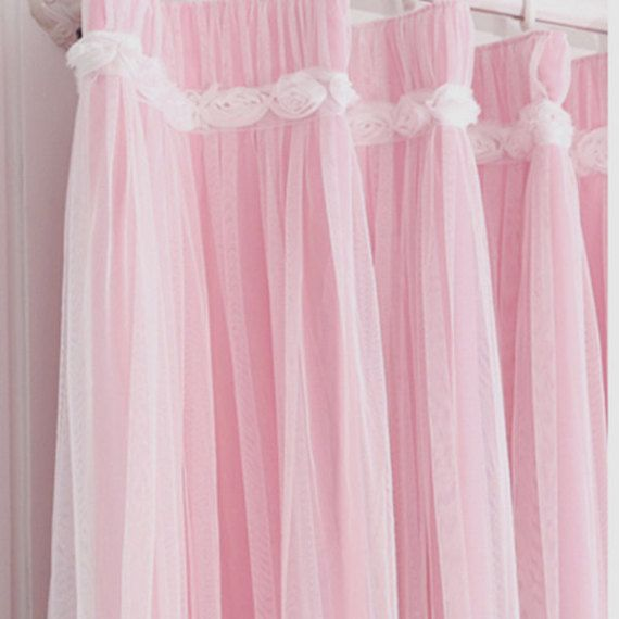 Pink Ruffle Lace Overlay Ruching White Rose Blackout Tulle