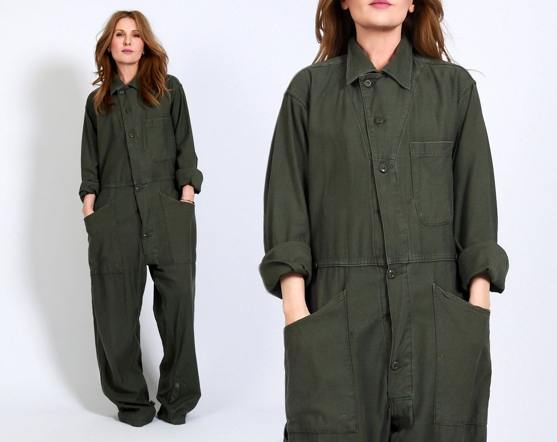 5b4086ee6afd vintage 70s MILITARY Coveralls jumpsuit boilersuit boiler suit patched  patches work wear workwear distressed pants baggy army sateen cotton